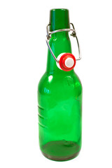 Old brown bottle with swing top isolated on white