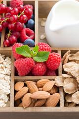 foods for breakfast - oatmeal, granola, nuts, berries
