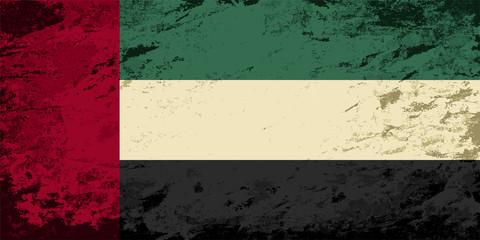 United Arab Emirates flag. Grunge background. Vector