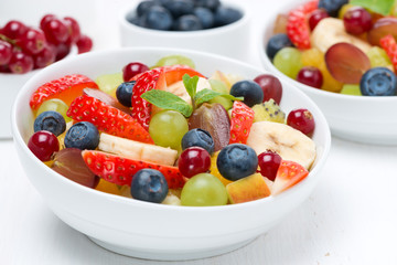 Fresh fruit and berry salad, close-up