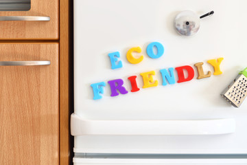 Refrigerators door with colorful text Eco Friendly