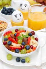 fruit salad, cream and painted eggs for breakfast