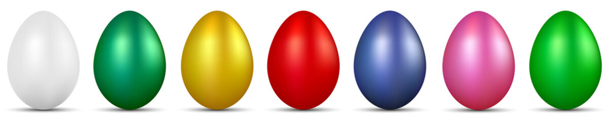 Row of shiny Easter eggs