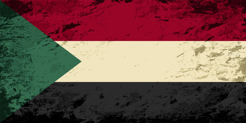 Sudanese flag. Grunge background. Vector illustration