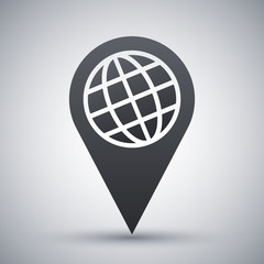 Map pointer icon, vector