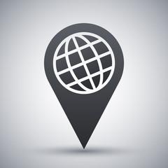 Map pointer icon, vector