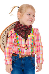 Little blonde girl with pigtails dressed as a cowboy .