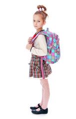 Beautiful elegant schoolgirl with satchel on his back.