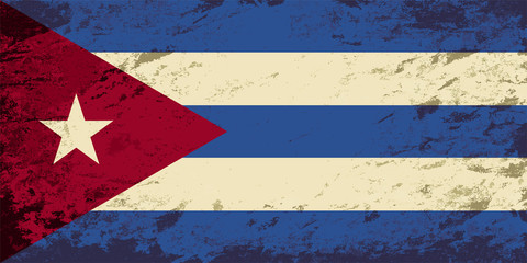 Cuban flag. Grunge background. Vector illustration