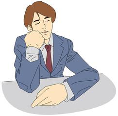 お疲れビジネスパーソン-昼休みのひと時、仮眠中の男性会社員