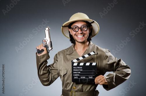 Fotobehang Jacht Funny safari hunter against background