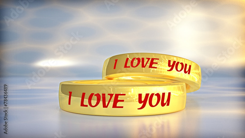canvas print picture I LOVE YOU in golden struggle