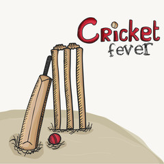 Creative bat with ball and wicket stumps for Cricket Fever.