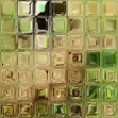 The green and brown tiles from the shiny colorful glass blocks.
