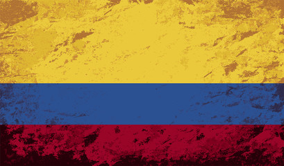 Colombian flag. Grunge background. Vector illustration