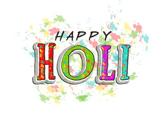 Creative text for Indian festival of Colors, Holi celebration.