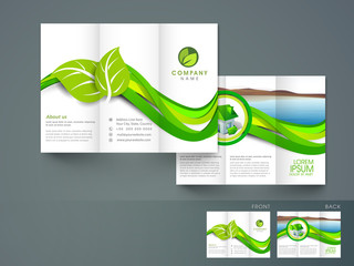 Professional tri-fold brochure, flyer or template for ecology.