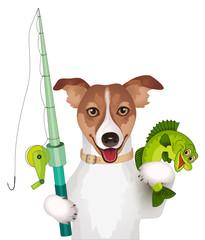 Hund mit Angelrute und Fisch