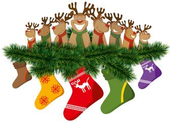 christmas reindeer with christmas socks