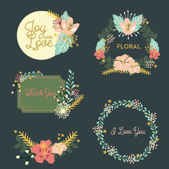 Set of different flower and text compositions. Vector design.