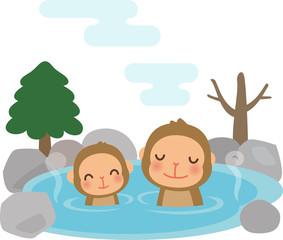 温泉に入る猿の親子