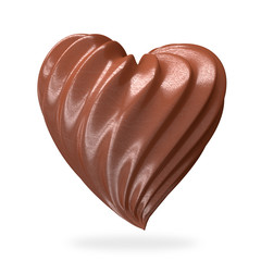 heart shaped chocolate cream, isolated
