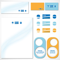 Blue and yellow hotel vector set printable