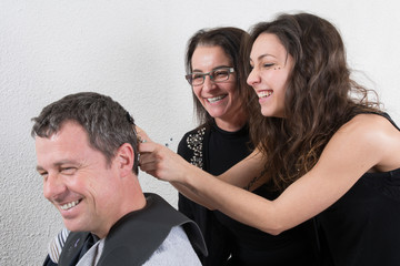 Hairdressing and trainees learning the barber profession