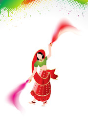 holi background with traditional girl
