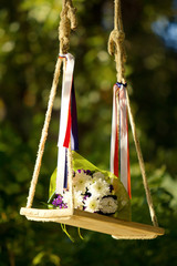 Bouquet on a swing