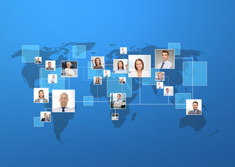 pictures of businesspeople over world map