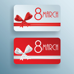 Gift card for 8 march women's day, vector set