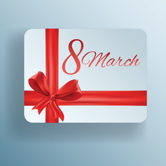 Gift card for 8 march women's day, vector