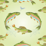 Seamless texture  American trout and ephemera vector poster