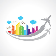 Colorful background with city and airplanes. vector illustration