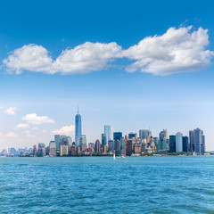 Manhattan New York skyline from NY bay in US