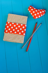 Vintage notebook, heart with red polka dot fabric