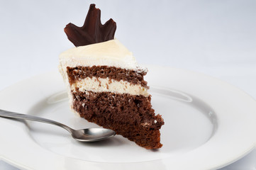 Slice of cake with chocolate and whipped cream with white chocol