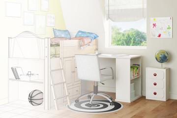 Kinderzimmer mit Bett und Schreibtisch als Skizze