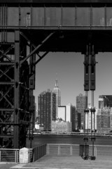 Manhattan New York skyline BW from East