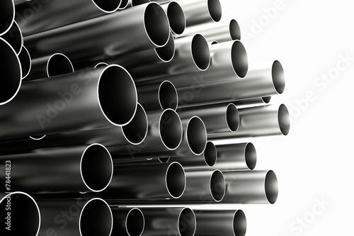 canvas print picture Viele Röhren aus Chrom und Metall