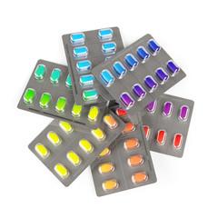 Viele bunte Pillen im Kreis