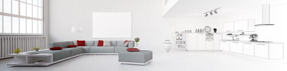Panorama mit Wohnzimmer und Wohnküche