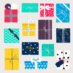 Vector set with gift boxes in crafting paper.