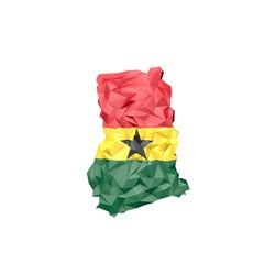 Low Poly Ghana Map with National Flag