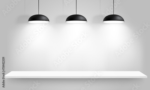 Black ceiling lamps. Vector - 78442209