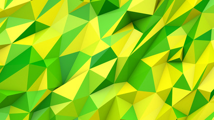 Green yellow abstract triangles poly colors geometric background