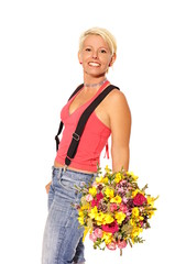Young woman holds beautiful bouquet of flowers