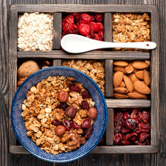 Granola, oatmeal, nuts and berries