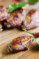 Grilled chicken wings with chili sauce